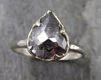 Fancy cut salt and pepper Diamond Solitaire Engagement 14k White Gold Wedding Ring byAngeline 1161