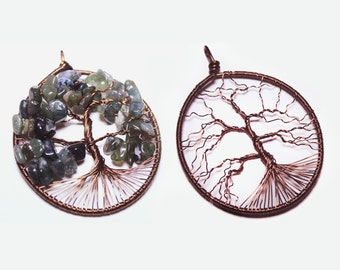 Tree of life wire wrap pendants, moss agate, leafless tree