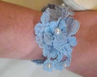 Blue lace wedding bracelet for the bride