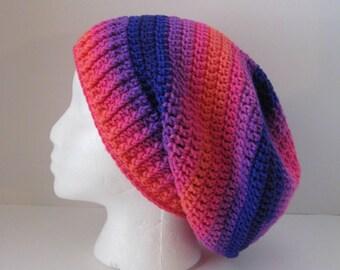Womens Crochet Slouchy Hat, Boho Striped Slouchy Hat, Teen Slouchy Beanie Hat, Purple Pink Orange Slouchy Beanie, Oversized Slouchy Hat