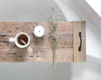 Bath Tray/ Reclaimed Wood/ Spa Tray/ Gift for Mom/ Gift/ Gift for Her/ Gifts under 50/ Wedding Gift/ Mothers Day Gift/ Anniversary Gift