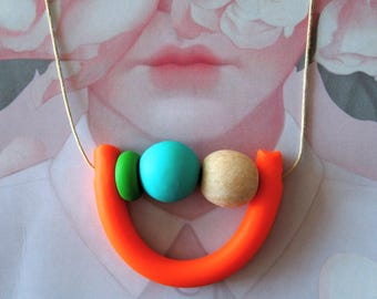 OOAK Handmade Polymer Clay Necklace - Guatemala Collection - Two Round Bead U