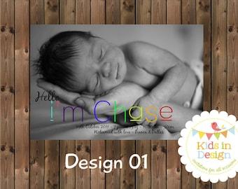 Baby Boys Printable Birth Announcement - Digital Jpg File