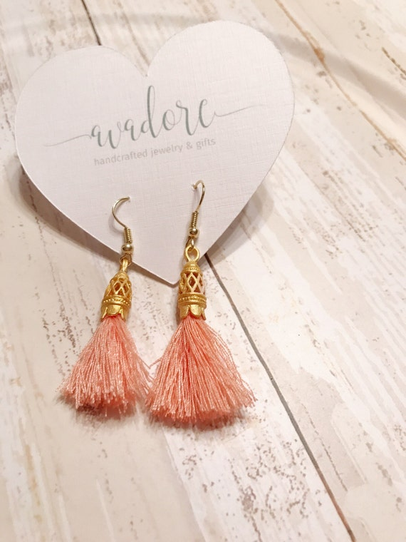 gold listing green peach glass earrings il coral