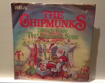 Vintage Record/ 80s Music Vinyl Record/ CHIPMUNKS/ Sleigh Ride/ The Chipmunk Song