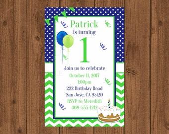 1st Birthday Party Invitation, 1st Birthday, First Birthday Invitation, Girls Birthday Invitation