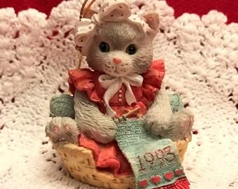 Calico Kittens Ornament, Christmas, Enesco, 1992, Never Used, Still in Box, Kitten Knitting in Basket, Cat Lovers, Kitten, Ceramic Ornament