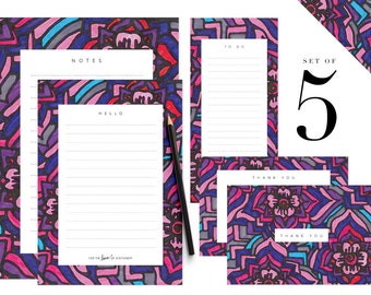 Floral Printable Stationery Set Notes Paper Letter To Do List Thank You Card Templates