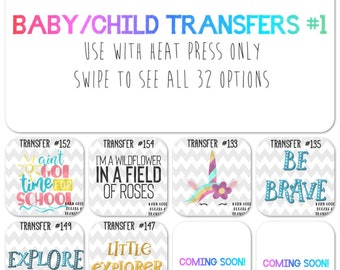 sublimation baby/child transfers #1 / HEAT PRESS ONLY / multiple designs / shirt transfers / graphics / t-shirt designs / boutique owners