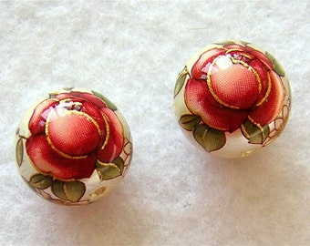 New Pair Japanese TENSHA Beads RED Rose on PEARL 12mm