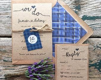 scottish tartan wedding invitations - SAMPLES ONLY - Kraft