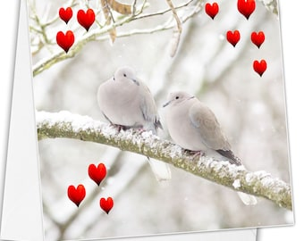 Love birds - Valentine's Day card - greeting card love greeting card - Valentine's card - heart and love