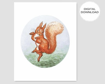 "Printable Squirrel Nutkin, Beatrix Potter Decor (Boys Nursery Print, Baby Girls Room Wall Art, DIY Woodland Shower Gift) -- ""Happy Dance"""