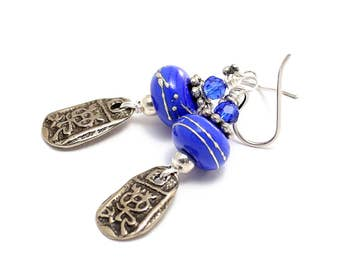 Blue Lampwork Bead Earrings. Silver Wrapped Beads. Ancient Relic Charms. Small Tribal Ethnic Earrings. Glass Bead Jewelry. Mother's Day.