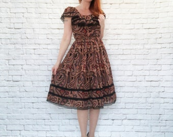Vintage 90s does 70s Paisley Ruffled Peasant Midi Dress Lace Trim Sheer XS S