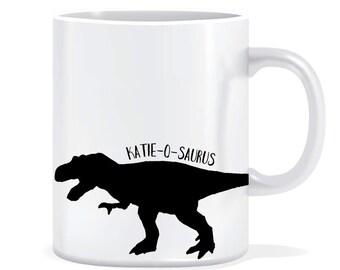 Name-o-saurus dinosaur mug