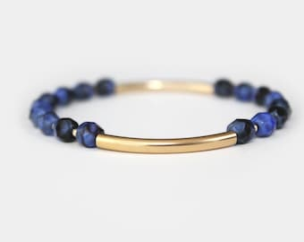 Lapis Blue Beaded Bar Bracelet - Gold Filled or Sterling Silver - Nalini
