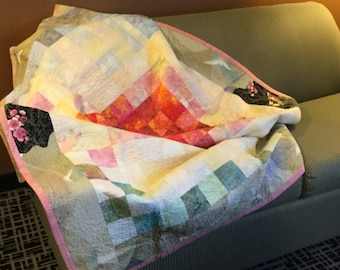 Handmade Large Lap Quilt - abstract design in primarily yellow and pink