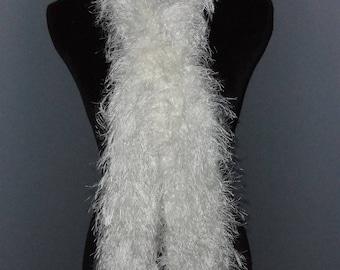 White fun fur scarf