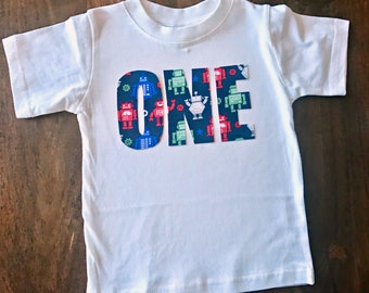Robot Boys Birthday Tee, toddler first birthday shirt one tee robot party theme one two three four five six red white blue green