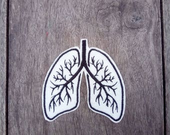 Human Lung Anatomy Felt Embroidery iron on Patch