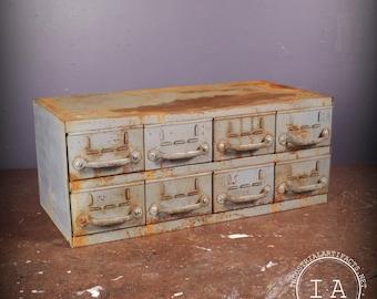 Vintage Industrial Equipto 8 Drawer Steel Parts Cabinet