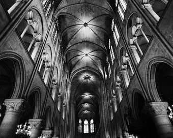 "Black and White Photography - Paris photograph, Notre Dame, Paris wall prints, gothic architecture, home decor,  travel - ""Heaven and Earth"""