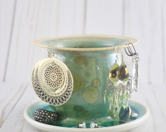 Earring Tree, Green Crystalline, Ceramic