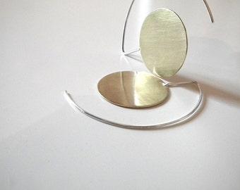 Big Brass Earrings, Brass Dangle Earrings, Big Brass Circle, Circle Earrings