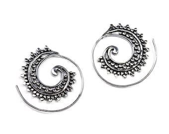 White Brass Small Dotted Design Spiral Earrings Tribal Earrings Mandala Jewellery Free UK Delivery Gift Boxed WB62 WBS1