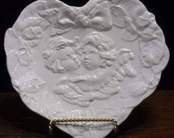 Porcelain Cherub Heart Dish
