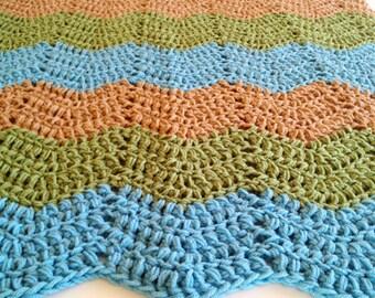 crochet baby blanket, crochet baby afghan, crochet blanket, ocean theme baby nursery, blue and green blanket, beach theme baby blanket