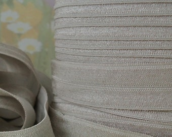 5yds Elastic Ribbon Fold Over Elastic Light Taupe HeadBands Ponytail 5/8 inch 13mm FOE Taupe Stretch Trim