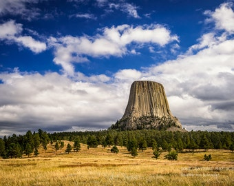 Devils Tower, Travel Photography, Landscape, White Clouds, Blue Sky, Fine Art Print, Earthy Colors, Wyoming, Healing Art, Home Decor