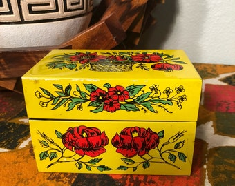 Vintage 1970s Metal Recipe Card Box with Index and Blank Cards