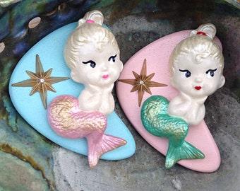 BROOCH - Mermaid Novelty Brooch-  Handmade Atomic Boomerang  - Nautical Mid Century Modern - Mod Kawaii Cute Resin Plastic Pin