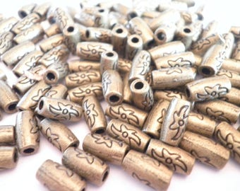 10 tubes bronze colored metal 9 x 4 mm