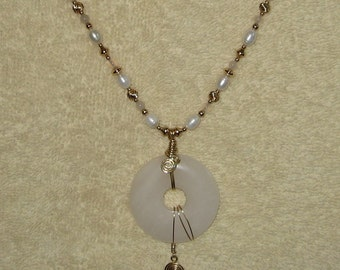 Gold-filled Freshwater Pearl and Gray Onyx Necklace