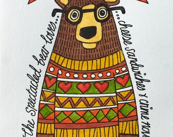 Spectacled Bear in Autumn Jumper -- Hand Painted Limited Edition Gocco Print