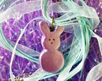 Purple Bunny Easter Peep Candy Polymer Clay Charm Ribbon Necklace — Easter Basket Stuffer — Easter Gift — Purple Easter Jewelry