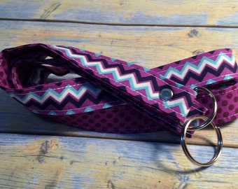 Purple Chevron/Purple Dot Print Fabric Lanyard / Id Holder / Key Lanyard / ID Badge Holder