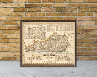 Kentucky map art etsy kentucky map vintage map of kentucky fine reproduction old maps restored publicscrutiny Images