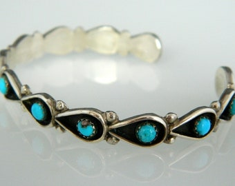 Native American Navajo Turquoise Snake Eye Sterling Silver Cuff Bracelet