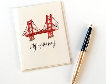 Golden Gate Bridge, Blank Notecard and Envelope, San Francisco Souvenir, Folded Stationery, Bay Area A2 Greeting Card, 4.25 in. x 5.5 in.