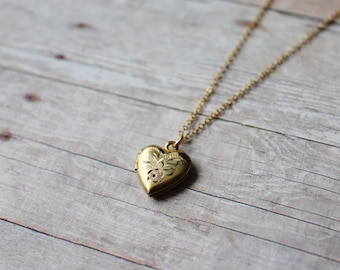 12k Gold Filled Vintage Heart Locket, New 14k Gold Filled Chain, Rose Yellow Green Gold