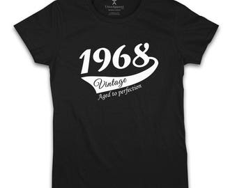 50th Birthday Gift For Woman, 1968 Vintage crew neck T-shirt,  S-2XL various colours