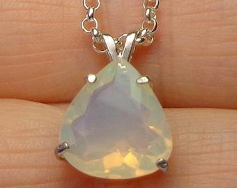 SALE, Faceted Ethiopian Welo Opal, Sterling Silver Necklace,Natural Gemstone, Fine Welo Opal Jewelry, Genuine Opal Necklace, OOAK