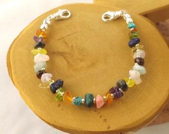 XXL Multi stone multicolor medical alert bracelet size 7.5 inches