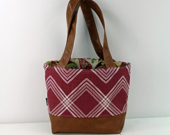Lulu Medium Tote  Bag - Colton Maroon with PU Leather - READY to SHIP   Purse Shoulder Straps 3 pockets Handbag Washable