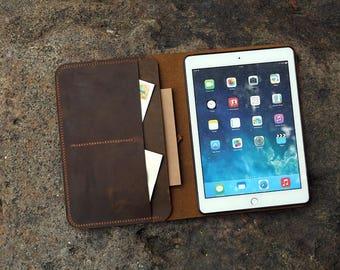 Personalized vintage distressed leather iPad cover case for 2017 New iPad 9.7 / New iPad 9.7 leather cover organizer portfolio IDN905S